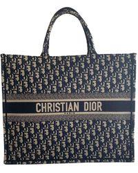 Dior Borsa a mano in cotone blu Book Tote
