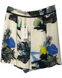 Proenza Schouler Ecru Silk Shorts - Multicolor