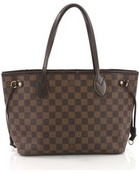 Louis Vuitton - Pre-owned Neverfull Brown Cloth Handbags - Lyst