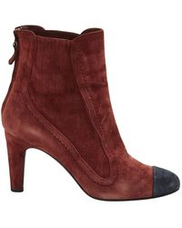 Chanel - \n Burgundy Suede Ankle Boots - Lyst