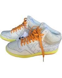 Nike SB Dunk Leder Hohe turnschuhe - Weiß