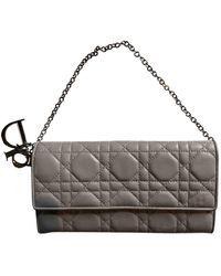 Dior Lady Leather Clutch Bag - Grey