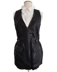 Balmain Leather Cardi Coat - Black