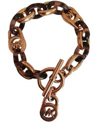 Michael Kors Gold Steel Bracelets - Brown