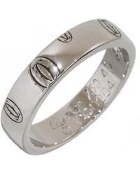 Cartier - Vintage Silver White Gold Ring - Lyst
