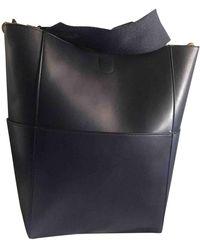 Céline Seau Sangle Navy Leather Handbag - Blue