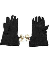 Dior Leather Gloves - Black