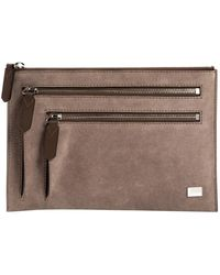 Lancel Grey Suede Clutch Bag - Gray