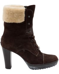 Tod's - Brown Suede Ankle Boots - Lyst