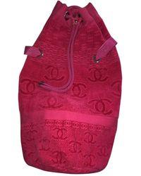 Chanel Borsa a mano in cotone rosa