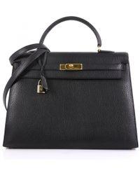 Hermès - Pre-owned Kelly 35 Black Leather Handbags - Lyst