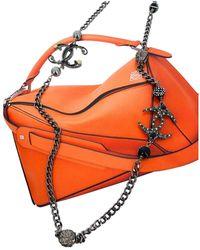 Chanel Collar largos en metal antracita CC - Naranja