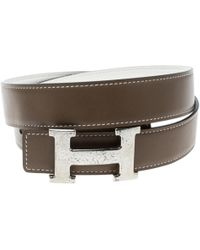 Hermès - H Beige Leather Belts - Lyst
