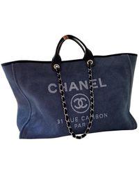 Chanel Sac à main Deauville en Coton Bleu