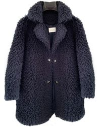 Sandro Spring Summer 2019 Faux Fur Coat - Blue