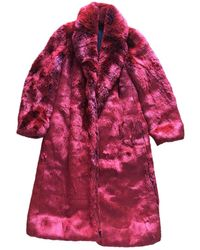 CALVIN KLEIN 205W39NYC Faux Fur Coat - Red