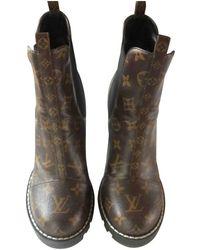 Louis Vuitton Star Trail Brown Cloth Ankle Boots