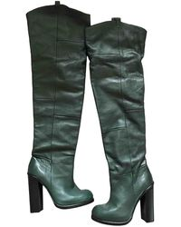 Opening Ceremony Green Leather Boots