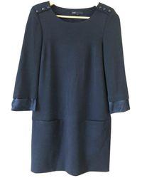 Maje Robe en Laine Noir - Bleu