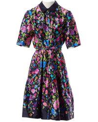 Oscar de la Renta Black Silk Dress - Blue