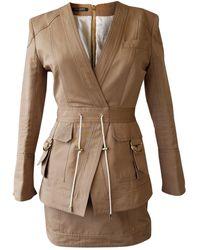 Balmain Khaki Cotton Dress - Natural