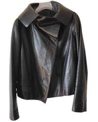 Jil Sander Leather Biker Jacket - Black