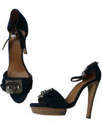e2c684d9075b Hermès Première Blue Suede Sandals in Blue - Lyst
