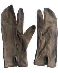 Maison Margiela Beige Leather Gloves - Natural
