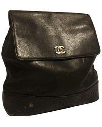 Chanel Mochila en cuero negro