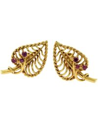 Cartier - Vintage Multicolour Yellow Gold Earrings - Lyst
