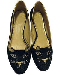 Charlotte Olympia Kitty Ballet Flats - Blue