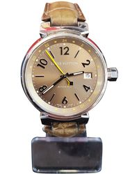 Louis Vuitton - Pre-owned Tambour Khaki Steel Watches - Lyst