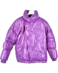 Moncler - Purple Polyester Coat - Lyst