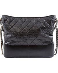 c08b2c201558d4 Chanel - Pre-owned Gabrielle Black Leather Handbags - Lyst