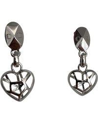 Dior Boucles d'oreilles en Métal Argenté - Gris