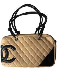Chanel Cambon Leather Handbag - Natural
