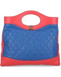 Chanel Sac à main 31 en Cuir Bleu