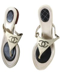 Chanel Beige Leather Sandals - Natural
