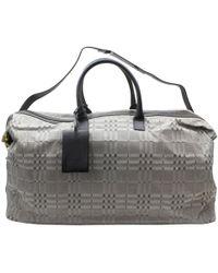 Burberry Grey Leather Travel Bag - Gray