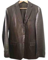 Ferragamo Brown Leather Jacket - Multicolour