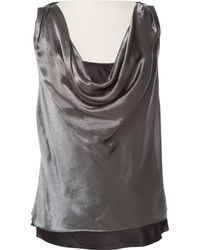 Ralph Lauren Collection - Silver Silk Top - Lyst
