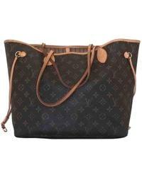 Louis Vuitton Neverfull Leinen Handtaschen - Braun