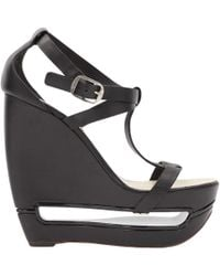 b31382f0d660 Lyst - Balenciaga Leather Lace-front Platform Sandal in Black