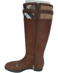 Burberry Leather Riding Boots - Brown