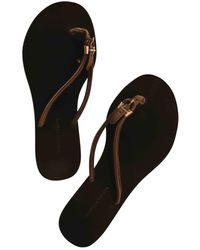Bottega Veneta Leather Flip Flops - Brown