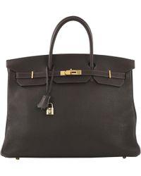 Hermès - Birkin 40 Brown Leather Handbag - Lyst