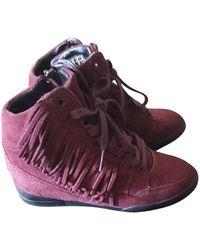 The Kooples Burgundy Leather Sneakers - Purple