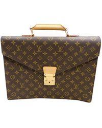 Louis Vuitton Serviette Ambassadeur Leather Handbag - Brown