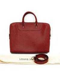 Louis Vuitton Sac Porte Documents Voyage en Cuir Rouge