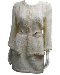Chanel \n Beige Tweed Jacket - Natural